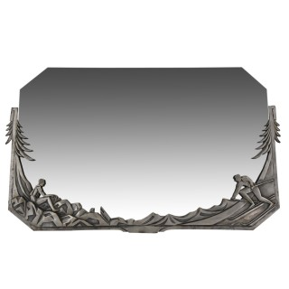 Art Deco silvered bronze mirror with skiers