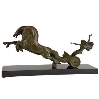 Art Deco bronze sculpture horses and carriage