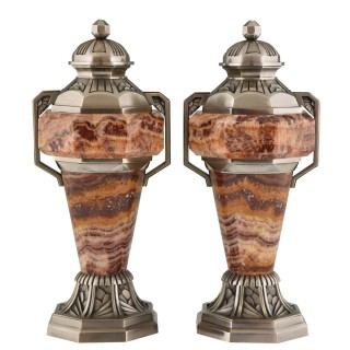 French Art Deco marble and bronze urns