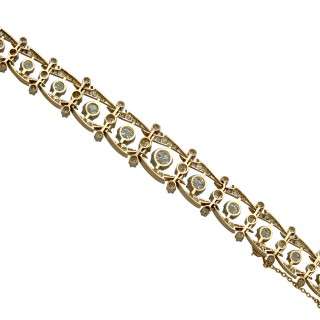 17.35ct Diamond and 18ct Yellow Gold Bracelet - Antique French Circa 1910