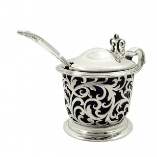 Antique Victorian Sterling Silver Mustard Pot with Spoon 1841