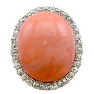26.86ct Pink Coral and 1.80ct Diamond, 14ct Yellow Gold Dress Ring - Antique Circa 1920