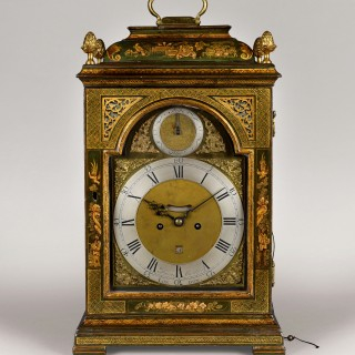 THOMAS GARDNER London . An 18th century green and gilt lacquer table clock.