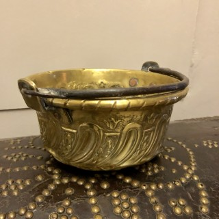 17th Century Brass Bowl With Iron Handle