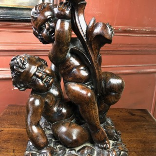 Very Good Woodcarving Of Putto