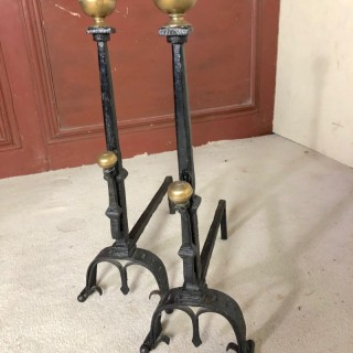 A Rare Pair Of Brass Mounted C1670 Period Fire Dogs