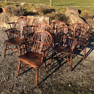 Harlequin Set Of 8 Yew Wood Windsor Chairs C1800 English
