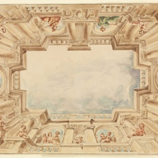 A design for a Trompe l'oeil ceiling, attributed to Giuseppe Barberi (Rome 1746-1809)