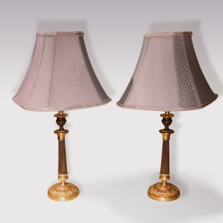 Pair Of Early 19th Century Bronze And Ormolu Acanthus Base Candlestick Lamps