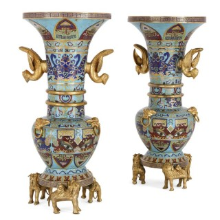Two Chinese gilt bronze mounted cloisonné enamel vases