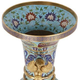 Two Chinese gilt bronze mounted cloisonné enamel vases