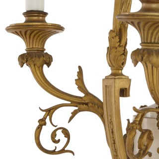 Louis XVI style marble, gilt bronze and jasperware chandelier