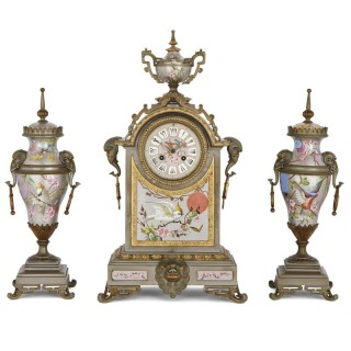 Antique French porcelain, gilt and silvered brass clock set