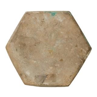 13th century Islamic Ladjvardina Moulded Hexagonal Tile