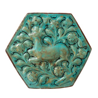 13th century Islamic Ladjvardina Moulded Hexagonal Tile