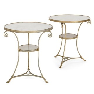 Two French marble and gilt bronze circular side tables