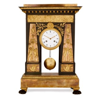 Antique gilt and patinated bronze mantel clock by Deverberie