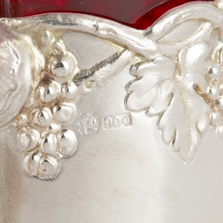 Six silver and parcel gilt ruby glass tea cups