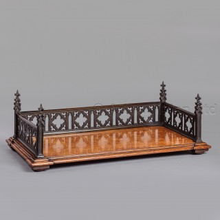 A Gothic Revival Burr Oak and Bronze Book Tray
