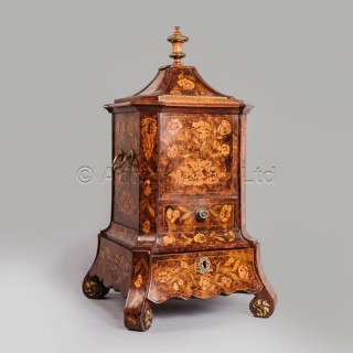 An Unusual Marquetry Inlaid Walnut Kettle Stand and Cover