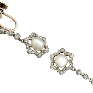 Pearl and 0.95ct Diamond, 9ct Yellow Gold Drop Earrings - Antique Circa 1900
