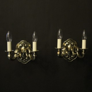 English Pair Of Twin Arm Antique Wall Lights