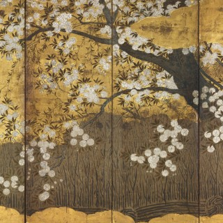 A pair of Japanese six-fold screens with cherry and chrysanthemums