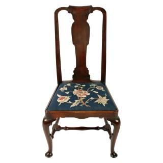 Pair of Queen Ann Black Walnut Chairs