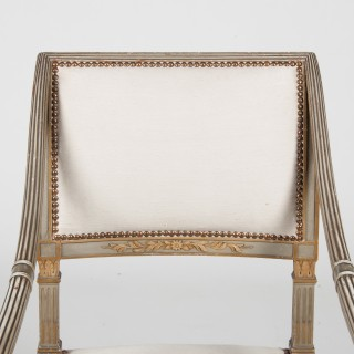 Fine Set Of Four Italian Neo-classical Painted Fauteuils / Armchairs Late 19th Century.