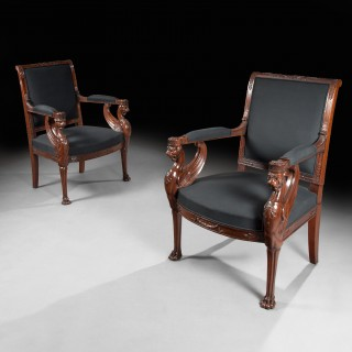 Fine Pair of Empire Period Mahogany Fauteuils - Armchairs