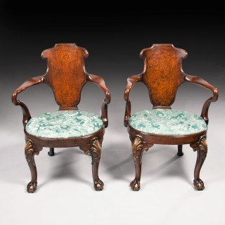 Rare Pair of 19th Century Gillows Walnut and Burr Elm Shepherds Crook Armchairs.