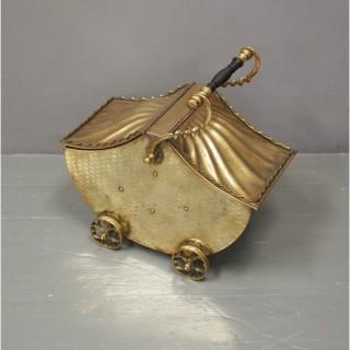 Brass Coal Bin in a Pram Design
