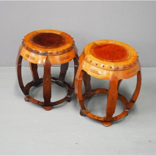 Pair of Chinese Hardwood and Burr Drum Shaped Stools
