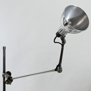 Rare nickel plated and aluminium Gras model 215 mobile floor lamp