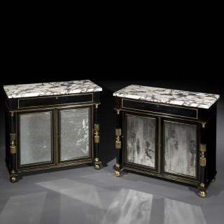 Pair of Regency Ormolu Mounted Ebonised Pier Cabinets