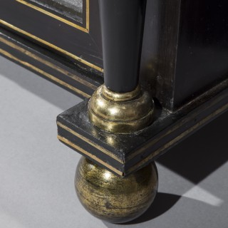 Pair of Regency Ormolu Mounted Ebonised Pier Cabinets