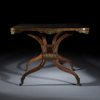 Regency Rosewood Ormolu Mounted Library Table, attributed to George Oakley