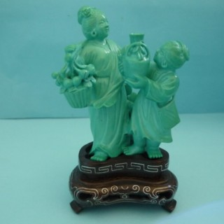 Large Carved Turquoise Figure Group