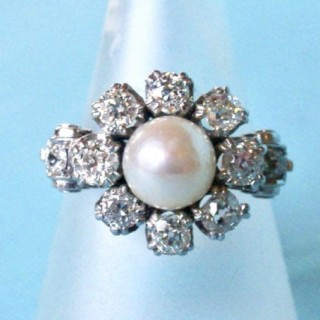 Vintage Diamond and Pearl Ring
