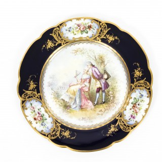 Antique French Sevres Chapuis Hand-Painted Porcelain Gilt Set 12 Plates 18th C