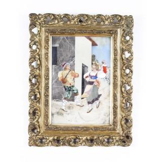Antique Italian Grand Tour Pietra Dura Plaque Giltwood Frame 19th Century