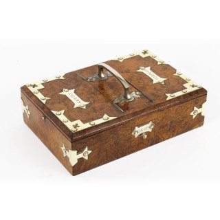 Antique Victorian Burr-Walnut and Brass mounted Cigar Box 19th Century