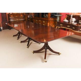 Antique 11 ft Regency Revival Mahogany 3 Pillar Dining Table C1900