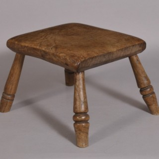 Antique 19th Century Welsh Oak Child's Stool