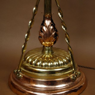 A very decorative copper and brass standard lamp circa: 1900