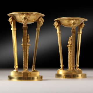 A pair of Empire gilt bronze Brûle Parfums