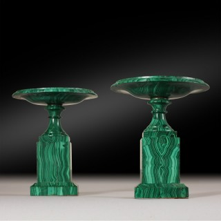 A pair of Malachite Tazzas
