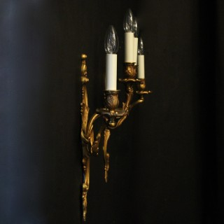 French Pair Of Gilded Twin Arm Wall Lights