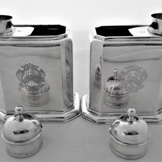 Nice pair armorial George I silver tea caddies London 1724 Edward Gibbon