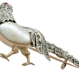 Baroque Pearl and 0.75ct Diamond, Ruby and 14ct Yellow Gold 'Pheasant' Brooch - Antique Victorian